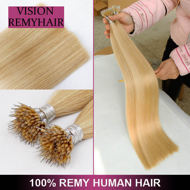 Highest Quality 100% Remy I -Tip With Italian Keratin Nano Ring Hair Extension