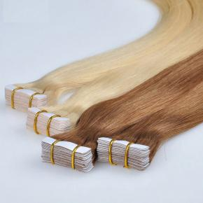 Wholesale invisible remy human tape hair extensions, double drawn tape in extensions