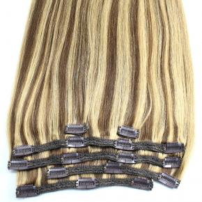 Full head Clip In Human Hair Extension tape in hair with clips